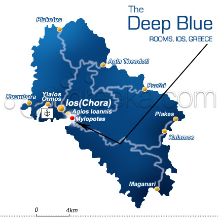 Location The Deep Blue Rooms in Ios Island Mylopotas
